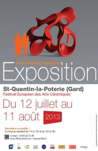 12 juillet au 11 août 2013 |`Exposition jeune céramique européenne à Saint-Quentin-la-Poterie (30)
