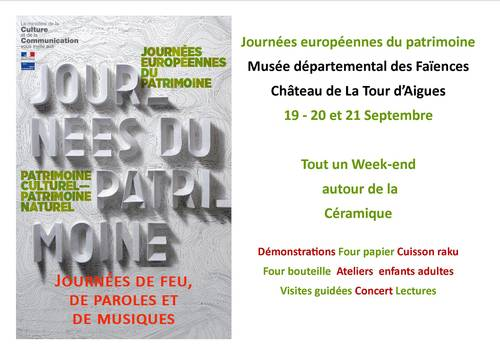 du 19 au 21 septembre 2014 | Week-end autour de la céramique au Château de la Tour d'Aigues (84) | Journées du patrimoine