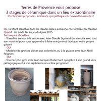 Stage de poterie Grosses pièces à Mont-Dauphin du 1er au 4 juin 2015 | Organisation Terres de Provence