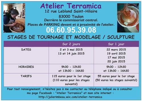 Stages de tournage et de modelage / sculpture à l'atelier TERRAMICA de Toulon.