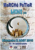 Marché potier de Mons (Var) le dimanche 2 août 2015 - céramique, poterie culinaire, arts de la table, objets de décoration, bijoux, sculptures...