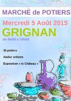 Marché potier de Grignan dans la Drôme le mercredi 5 août 2015 - céramique poterie, utiltaire et décoratif, bijoux, pièces uniques
