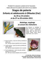 Stages de poterie enfants à la Toussaint 2015 | Ollioules (Var) - Atelier de céramique Le crabe bleu, Vanina de Nobili