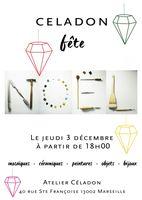 Soirée festive à l'atelier céramique Céladon au Panier, à Marseille, le 3 décembre 2015 - vin chaud et expo-centes de créations métiers d'art