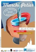 Marché potier de Marseille le jeudi 5 mai 2016, sous l'Ombrière du Vieux-Port
