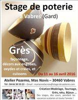 Stage de poterie de grès à Vabres (Gard) du 11 au 16 avril 2016 - Loisirs créatif de l'Atelier Pozemo, Marianne Lacroix