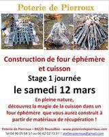 Stage Construction de four éphémère et cuisson à Roussillon (84) - Poterie de Pierroux le 12 mars 2016