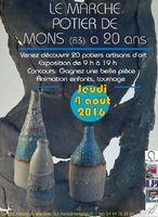 Marché potier de Mons (Var) le 4 août 2016 - poterie et céramique
