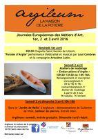JEMA - Journées Européennes Métiers d'Art les 1, 2 et 3 avril 2016 - Argileum Saint Jean de Fos (Hérault)