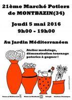 Marché potier de Montbazin (Hérault) le jeudi 5 mai 2016 - céramique et poterie
