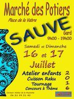Marché potier de Sauve (Gard) les 16 et 17 juillet 2016 - céramique et poterie