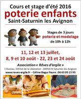 Stages de poterie-modelage enfants été 2016 - Saint Saturnin les Avignons (Vaucluse)