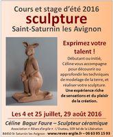 Cours d'été Sculpture céramique à St Saturnin les Avignon (Vaucluse) - 4 et 25 juillet et 29 août 2016