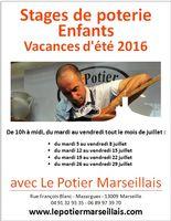 Stages de poterie pour enfants à Marseille, vacances d'été 2016, avec Le Potier Marseillais