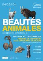 Exposition céramique Beautés Animales, Prieuré de Charrière (Drôme) 10 août-11 septembre 2016