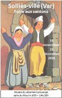 Foire aux santons de Solliès-Ville (Var) du 19 novembre au 23 décembre 2016 - crèches de Noël, art santonnier