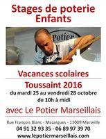 Stage de poterie enfants pour les vacances de la Toussaint 2016 à Marseille (Bouches du Rhône)
