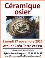 Stage céramique-osier à l'atelier Créa-Terre et Feu le 19 novembre 2016 (Châteauneuf les Martigues)