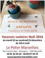 Stage de poterie enfants à Noël du 20 au 23 décembre 2016 - Le Potier Marseillais
