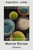 Exposition-Vente céramique, atelier  Martine Kistner à La Cadière (Var) du 9 au 11 décembre 2016