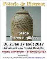 Stage de poterie Terres sigillées, Poterie de Pierroux à Roussillon en Vaucluse, du 21 au 27 août 2017