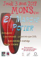 Marché potier de Mons (Var) le jeudi 3 août 2017 - céramique et poterie