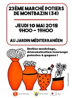 Marché potier de Montbazin (Hérault) le jeudi 10 mai 2018 au Jardin Méditerranéen - céramique et poterie