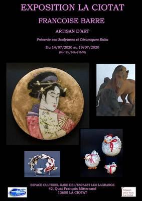 Exposition céramique Françoise Barre du 14 au 19 juillet 2020 à La Ciotat
