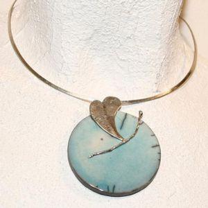 Collier raku - Turquoise et argent
