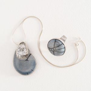 Collier et bague - Galet gris