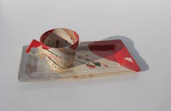 plateau collection Mouchette rouge et sa tasse expresso