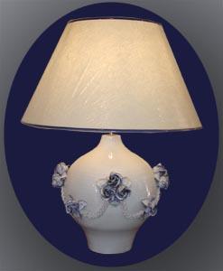 Lampe poire, roses et tresses bleutées