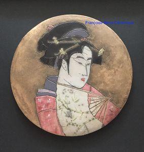 cadre estampe japonaise raku fond patine or