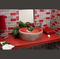 Salle de bain gris-rouge